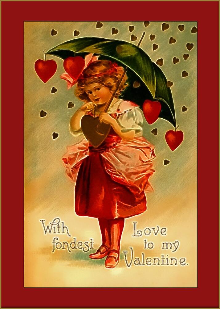Valentine-Girl Under Umbrella by Yesteryears