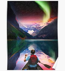 canoeing in banff under northern light art2 Poster