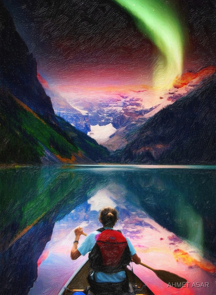 canoeing in banff under northern light art3 by MotionAge Media