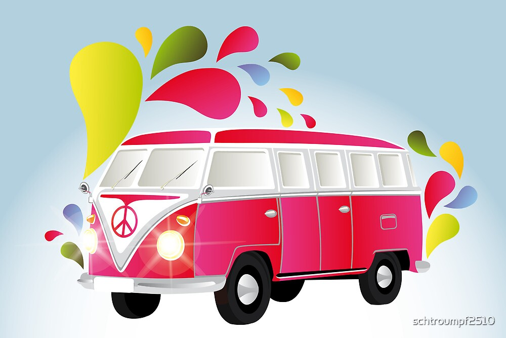 Colorful retro van with splashes by schtroumpf2510