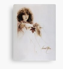 """""""Girl with Maple Leaf"""" Painting in Oils Canvas Print"""