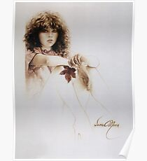 """""""Girl with Maple Leaf"""" Painting in Oils Poster"""