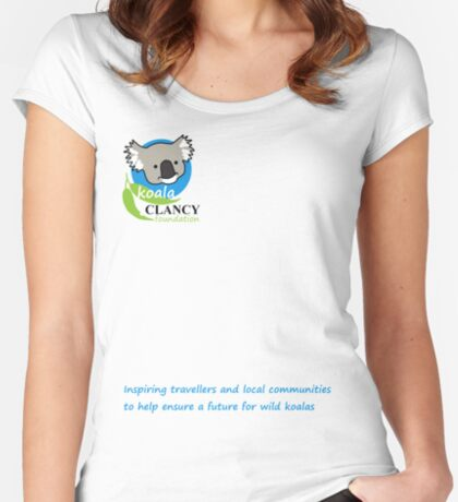 Koala Clancy Foundation - blue text Fitted Scoop T-Shirt