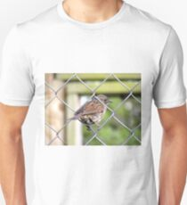 Female Dunnock Perching On Wire T-Shirt