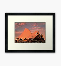 Opera House Sails in the Sunset Framed Print