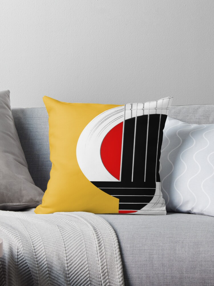 Geometric Guitar Abstract In Orange Red Black White Throw Pillows
