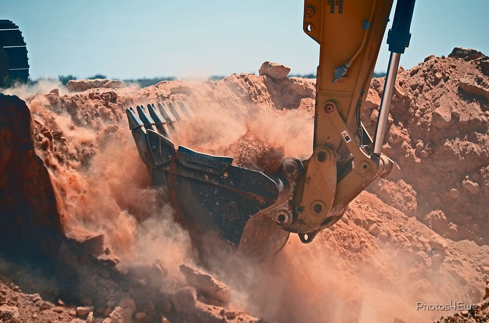 Excavator (aka the power shovel) at work by Mel  LEE