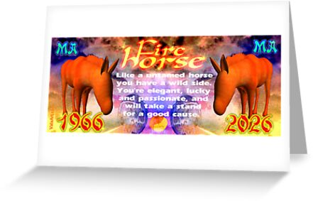 Chinese Zodiac, fire horse, 1966, 2026, born, by Valxart