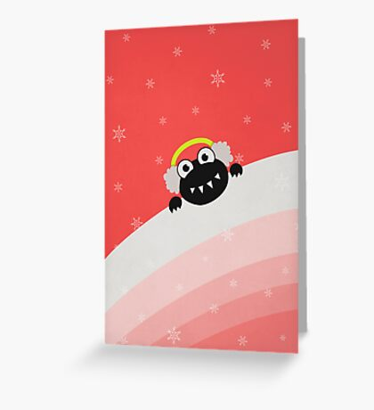 Winter Cute Bug With Earflaps Greeting Card