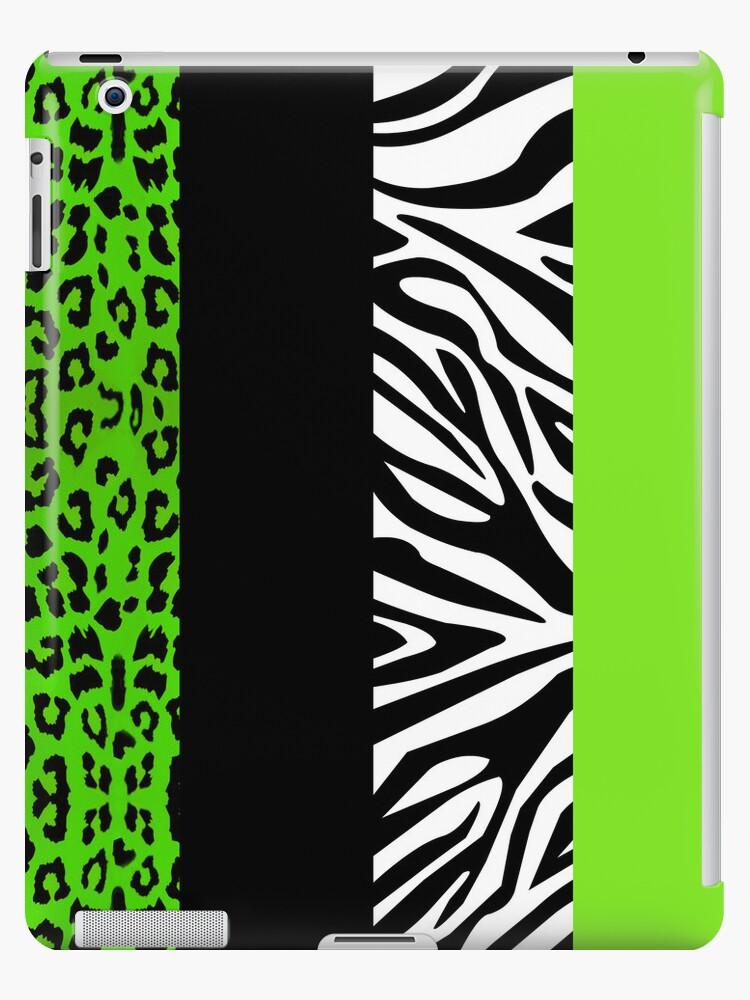 Green Zebra and Leopard Animal Print Stripes by JannaSalak