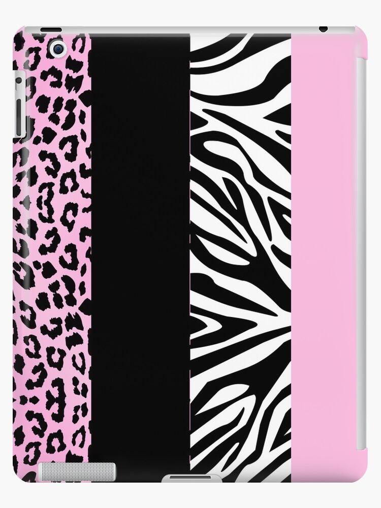 Pale Pink Zebra and Leopard Animal Print Stripes by JannaSalak