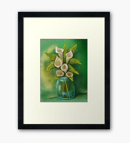 Jar of Calla Lilies Framed Print