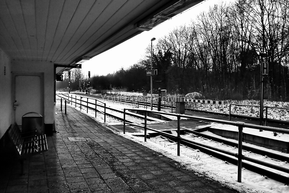 Railway station - bw by OLIVER W