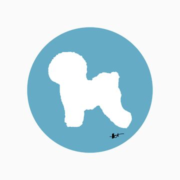 Bichon Frise Silhouette - Powder Puff Blue by theresatorres