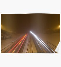 Dual carriageway at night in the snow Poster