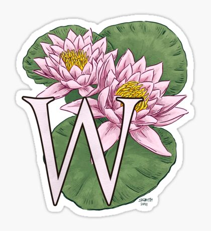 W is for Water Lily floating Sticker