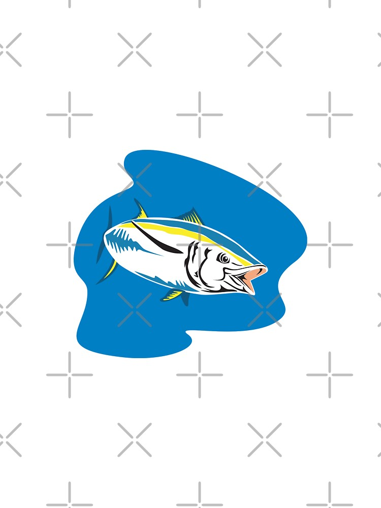 Yellow Fin Tuna Fish Retro by patrimonio