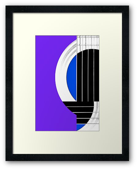Geometric Guitar Abstract in Purple Blue Black White by Natalie Kinnear