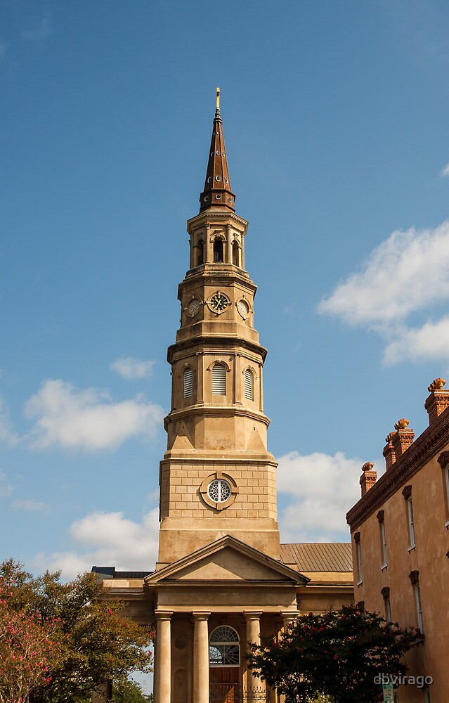Old Stone Church Tower with Clock by dbvirago
