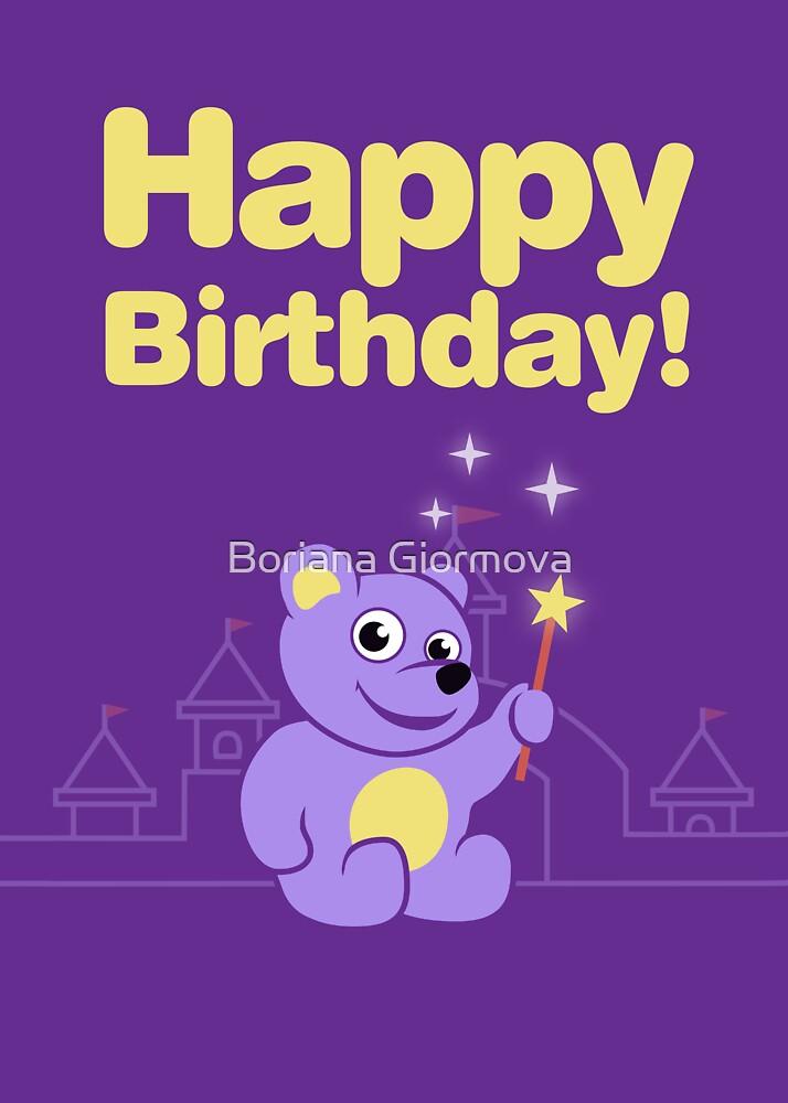 Purple Cartoon Teddy Bear Fairy Birthday by Boriana Giormova