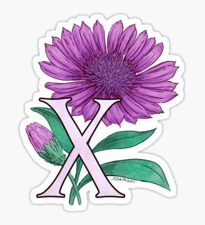 X for Xeranthemum floating Sticker