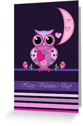 Owl carrying a heart, Valentine's day card by walstraasart