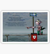 Silly Illustrated Sea Monkey Poem Sticker