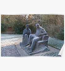 Sir Winston Churchill and his wife statue in Chartwell Poster