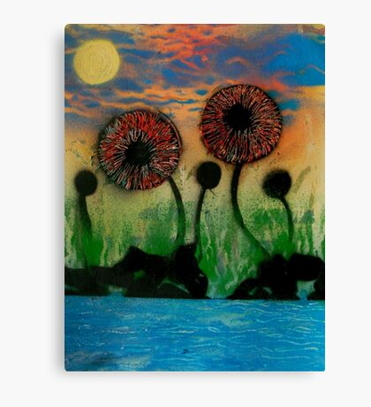 Giant Flowers by the Lake Canvas Print
