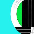 Geometric Guitar Abstract in Turquoise Green Black White by Natalie Kinnear