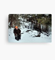 Winter Hiker At The Cliff's Edge Canvas Print