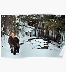 Winter Hiker At The Cliff's Edge Poster