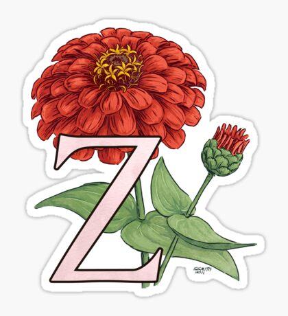 Z is for Zinnia card Sticker