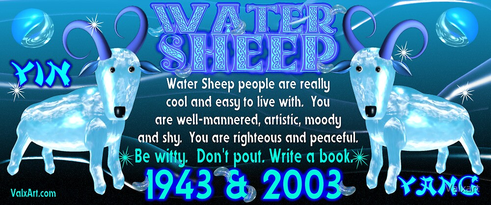 Chinese Zodiac, water sheep, 1943, 2003, born, by Valxart
