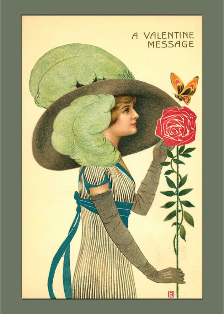 Valentine Card-Deco Woman by Yesteryears