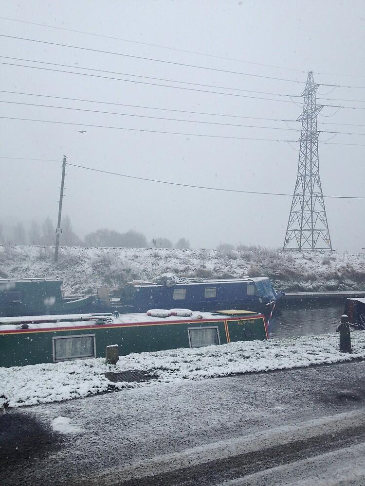 Beeston Canal. Snow by Robert Steadman