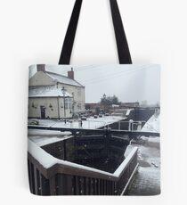Beeston lock in the snow Tote Bag