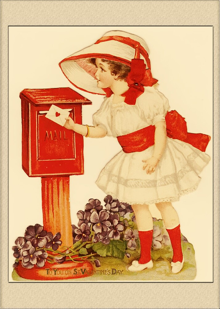 Valentine Card-Girl at Mailbox by Yesteryears