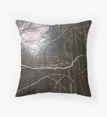 Snow on branch Throw Pillow