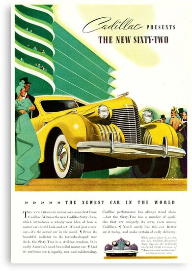 1940 Cadillac Vintage Poster by thebikeartist