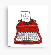 I Love You Typewriter Canvas Print