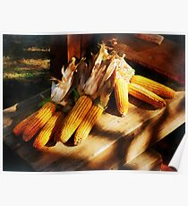 Vegetable - Corn on the Cob at Outdoor Market Poster