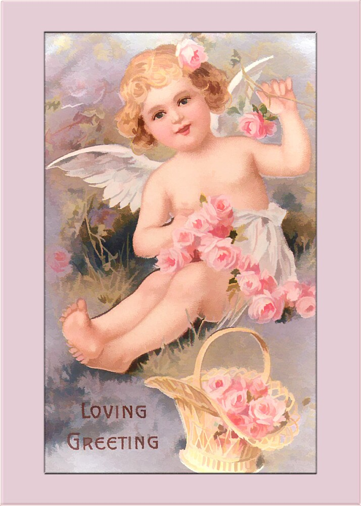 Vintage Angel Card-Angel with Roses by Yesteryears