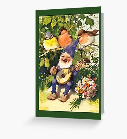 Vintage Elf Card-Elf with Guitar Greeting Card