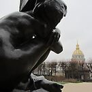 Rodin sculpture with Dome des Invalides by bubblehex08