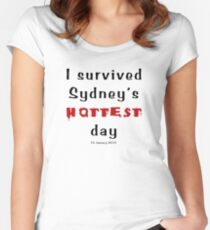 I survived Sydney's hottest day (Tee) black text Women's Fitted Scoop T-Shirt