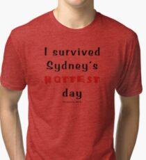 I survived Sydney's hottest day (Tee) black text Tri-blend T-Shirt