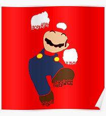 Mario Pixel Silhouette Poster