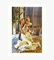 SHEARING FLEECE Art Print