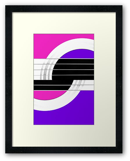 Geometric Guitar Abstract II in Pink Purple Black White by Natalie Kinnear